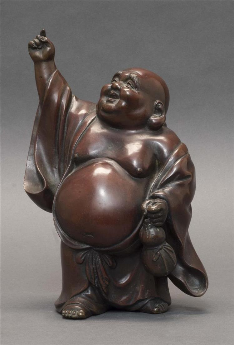 BRONZE FIGURE OF HOTEI Standing while holding a double gourd bottle. Height 10.25