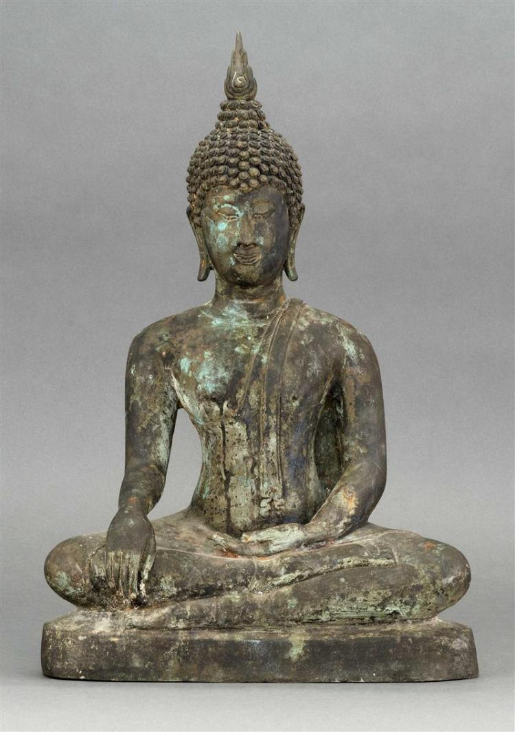 BRONZE FIGURE OF BUDDHA Seated in Earth-Touching posture. With tightly curled hair knots and plain finial. Height 18
