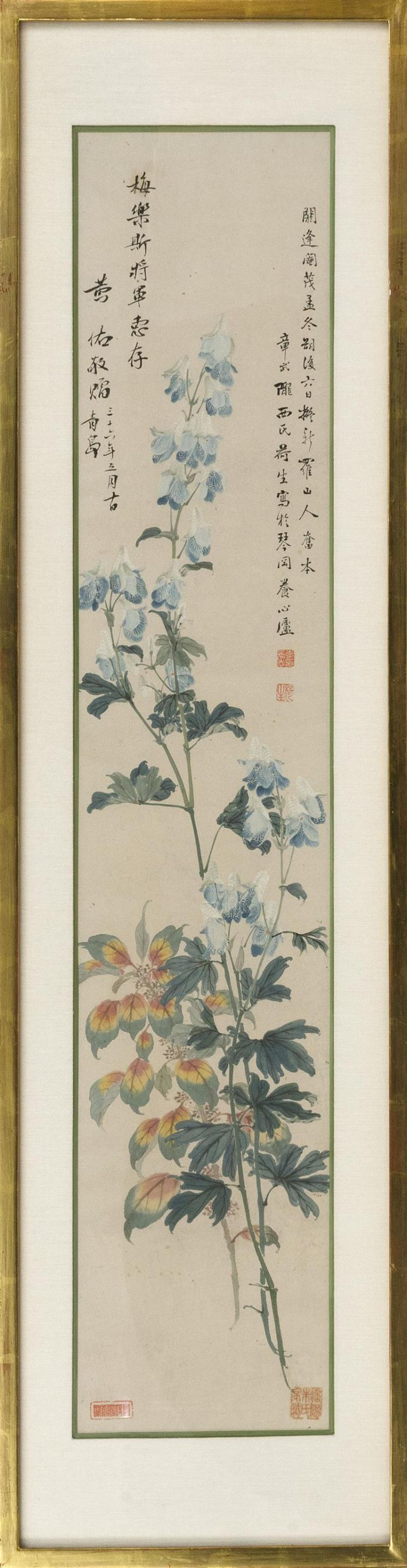 3SCROLL PAINTING ON PAPER Blue delphiniums. With inscription and four seal marks. 43