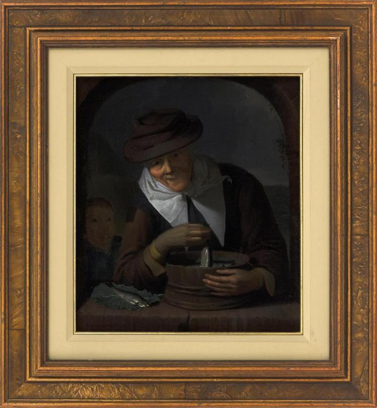 IN THE MANNER OF GERARD DOU, Dutch, 18th Century, A woman selling fish., Oil on canvas, 13
