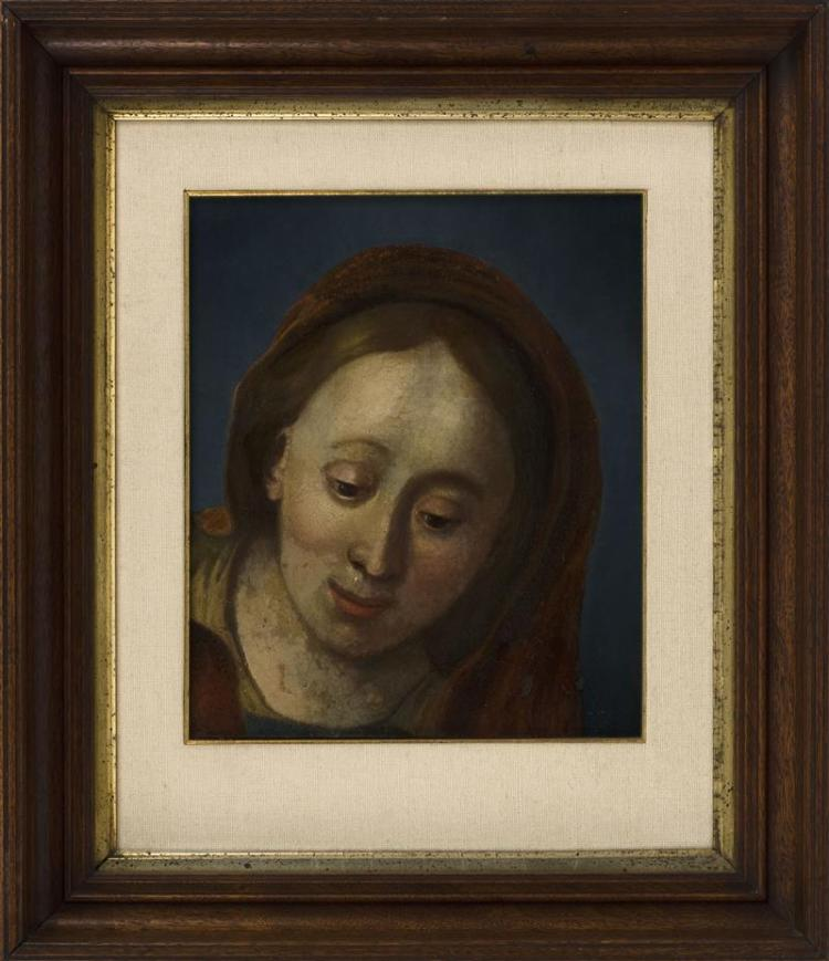 FRAMED PAINTING FRAGMENT Depicting the Madonna. Oil on canvas, 11
