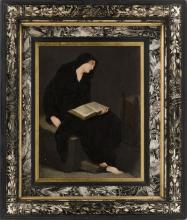 FRAMED PAINTING A seated figure wearing a black robe and reading from an open book. Oil on canvas, 10
