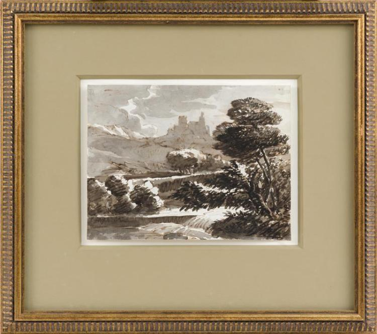 ATTRIBUTED TO CLAUDE LORRAINE, French, 1600-1682, A monastery on a hillside., Ink wash drawing, 8