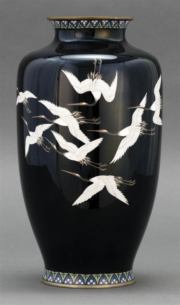 ANDO CLOISONNÉ ENAMEL VASE A snow crane design on a black ground. Ando mark on base. Height 12.5
