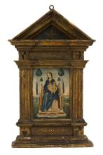 ARCHITECTURALLY FRAMED ICON Depicting The Madonna and Child seated on a throne with gilt halos and exotic trees. Overall 31