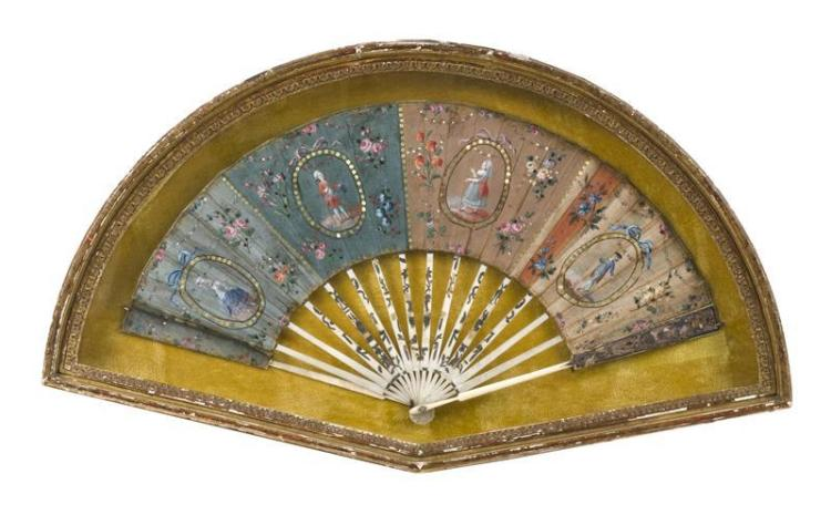 BONE AND PAINTED SILK FOLDING FAN Decorated with four figural cartouches surrounded by sequined frames all on a painted floral groun...