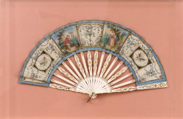 BONE AND PAINTED SILK FOLDING FAN With figural landscape scenes and sequin-embellished floral panels. Engraved and gilded sticks and...