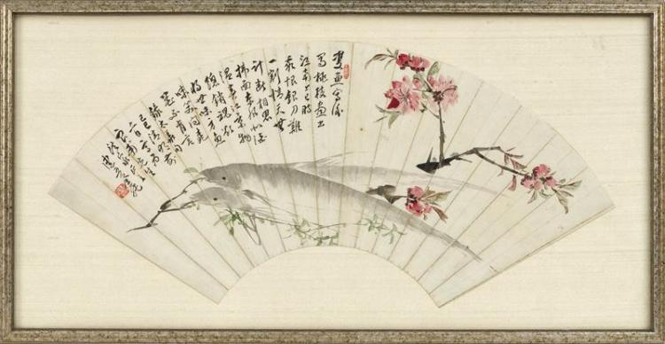 FAN PAINTING ON PAPER Depicting two fish with flower blossoms. Marked with extensive calligraphy and two seal marks. Length 20.25