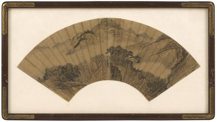 FAN PAINTING ON PAPER Depicting a mountain landscape and waterfall. With calligraphy and seal mark. Length 20.75