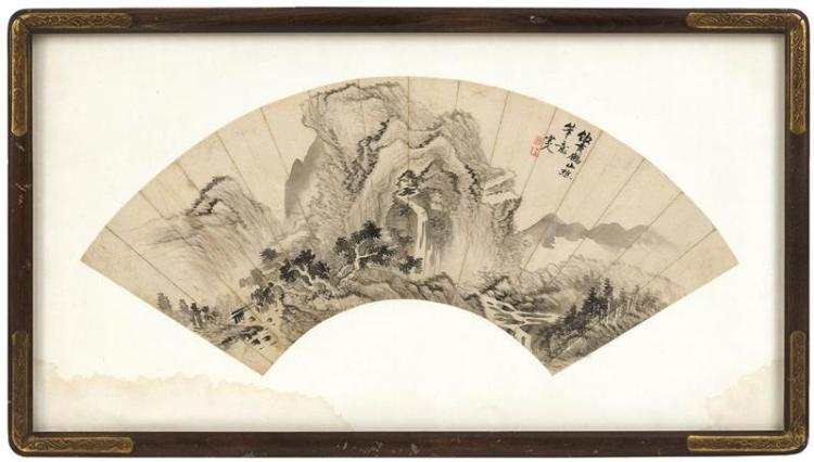 FAN PAINTING ON PAPER With waterfall landscape design. Marked with calligraphy and two seal marks. Length 19.75