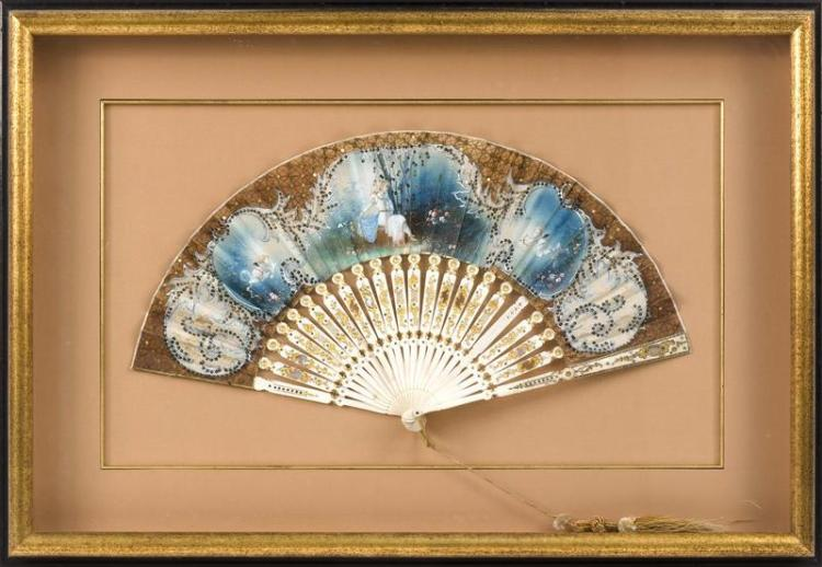 BONE AND PAINTED SILK FOLDING FAN Depicting a young woman attended by cherubs. Length 17.25