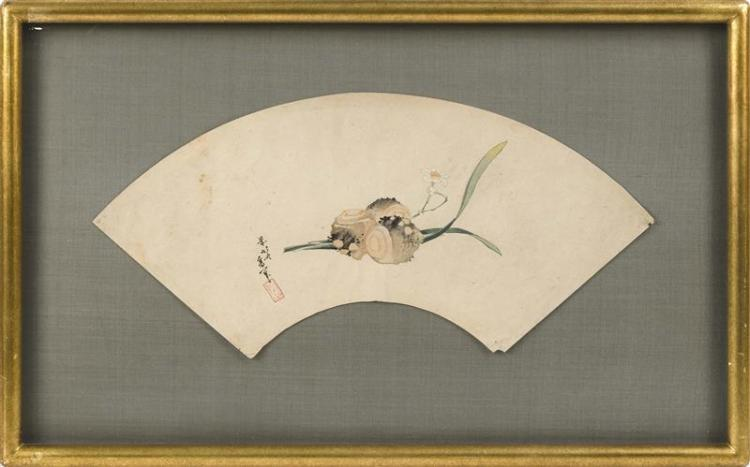 FAN PRINT By Katsushika Hokusai. Depicting narcissus and flower bulb. Length 18.5