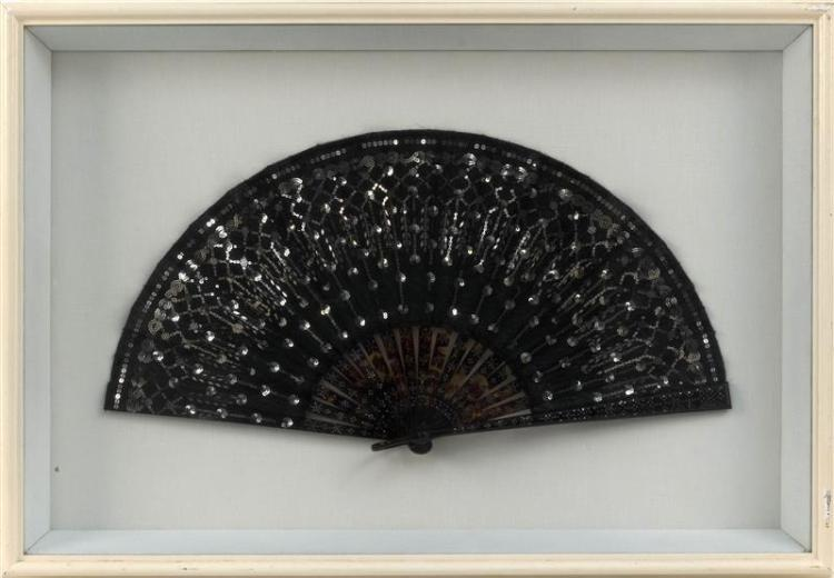 SEQUINS ON A BLACK SILK FOLDING FAN Length 18