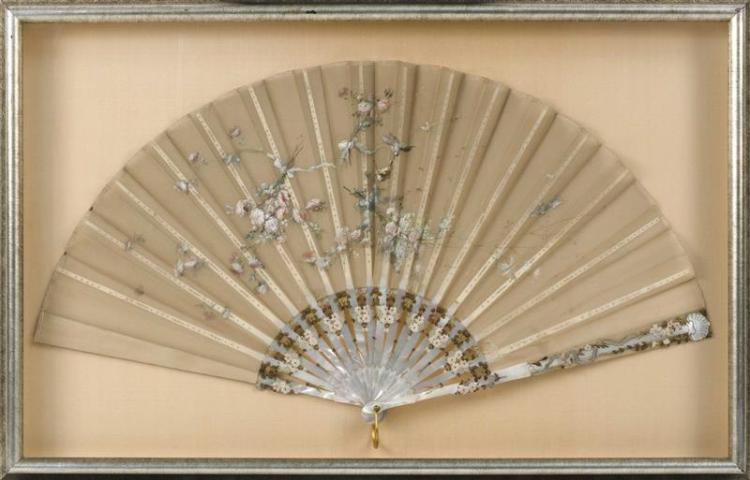 PAINTED GAUZE AND MOTHER-OF-PEARL FOLDING FAN In bird and flower design. Length 25.5