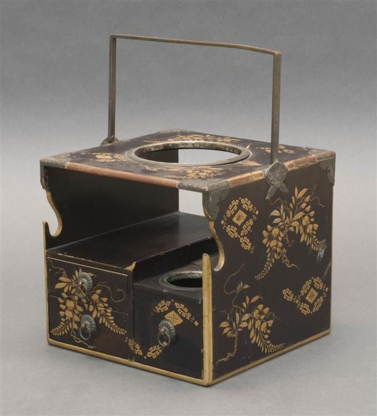 BLACK AND GOLD LACQUER SMOKER'S HIBACHI With engraved copper mounts and wisteria design. Height 7
