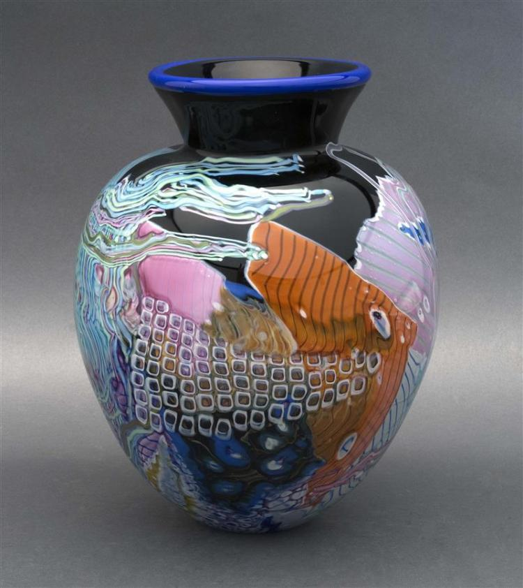 PETER RIDABOCK ART GLASS VASE With multi-color design suggesting angelfish, seagrasses, etc. Signed. Height 10.5