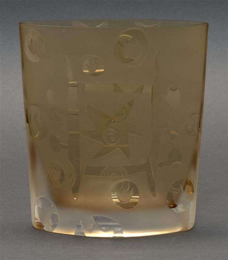 AMBER GLASS VASE In modified cylinder form with engraved flower and star design. Signed on base. Height 6.25