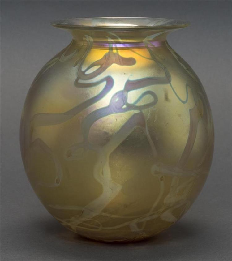 ROBERT EICKHOLT GLASS VASE In ovoid form with gold iridescent swirl design. Height 7