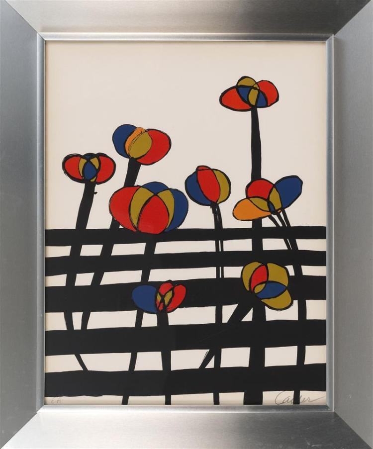 ALEXANDER CALDER, American, 1898-1976, Flowers on a fence., Lithograph, 25.5