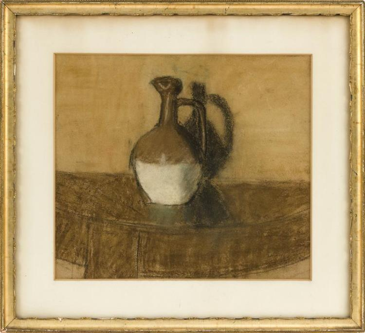 CHARCOAL AND PASTEL DRAWING Still life of a stoneware bottle. 13.75