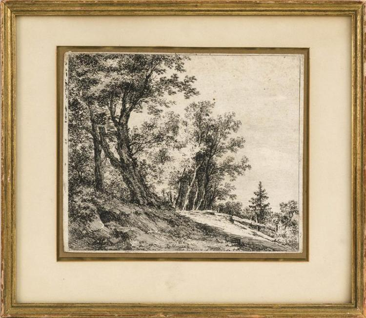 FRANZ RECHBERGER, Austrian, 1771-1841, Hillside landscape with trees and fence., Etching, 7