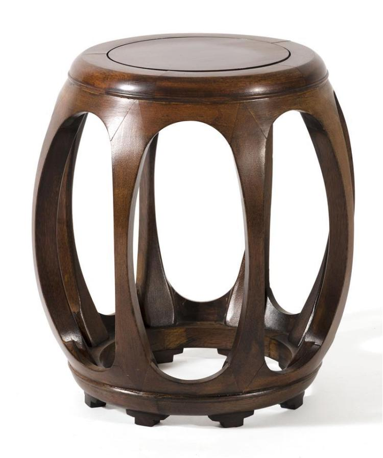 HONGMU GARDEN BARREL In drum form with openwork sides. Height 18