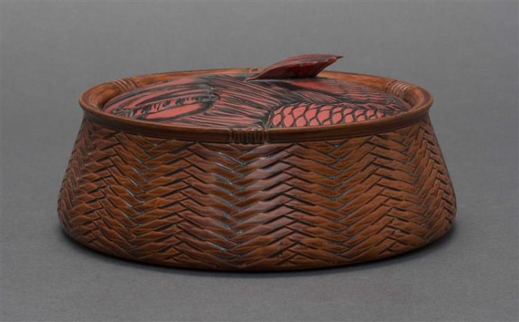 NEGORO RED LACQUER COVERED BOX In the form of a fish basket with fish-design cover. Signed. Diameter 6.8