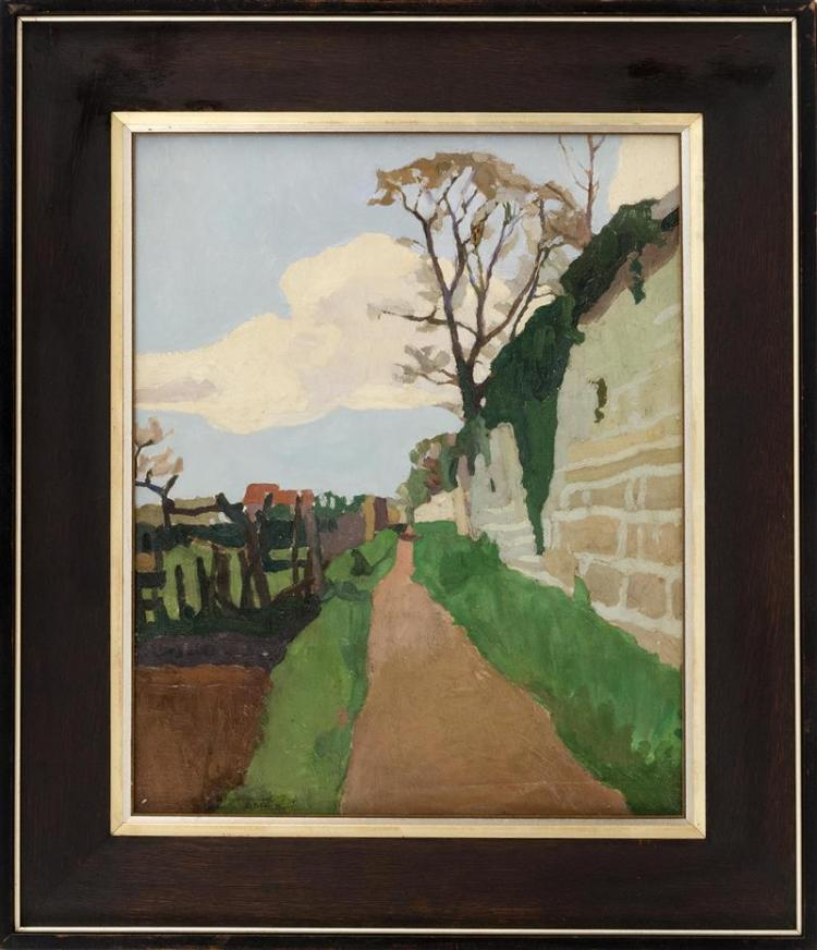 FRAMED PAINTING Rural street scene. Signed illegibly lower left. Oil on panel, 22.5