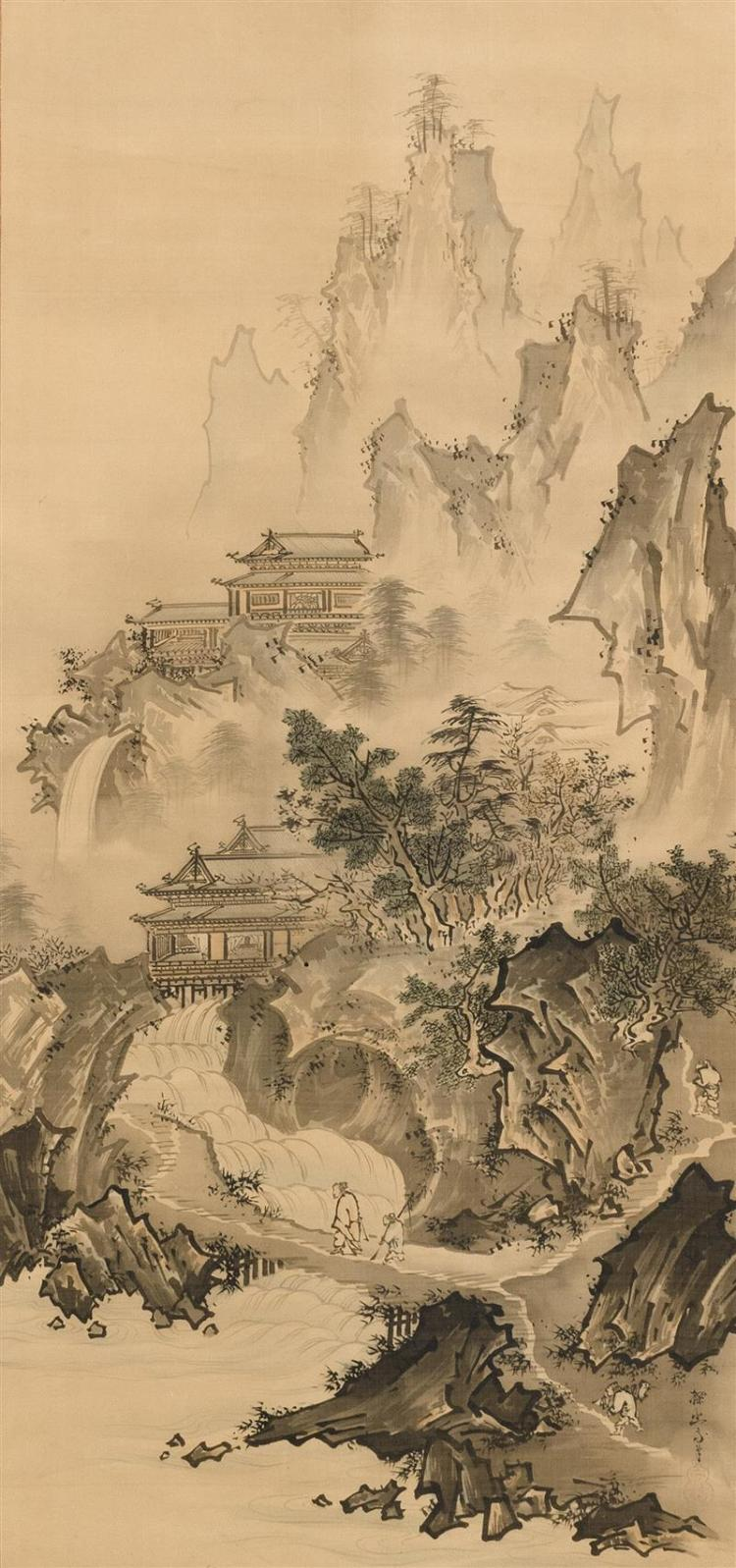 SCROLL PAINTING ON SILK Attributed to Tani Buncho. Depicting a traveler crossing a bridge with towering mountains and pavilions. Sig...