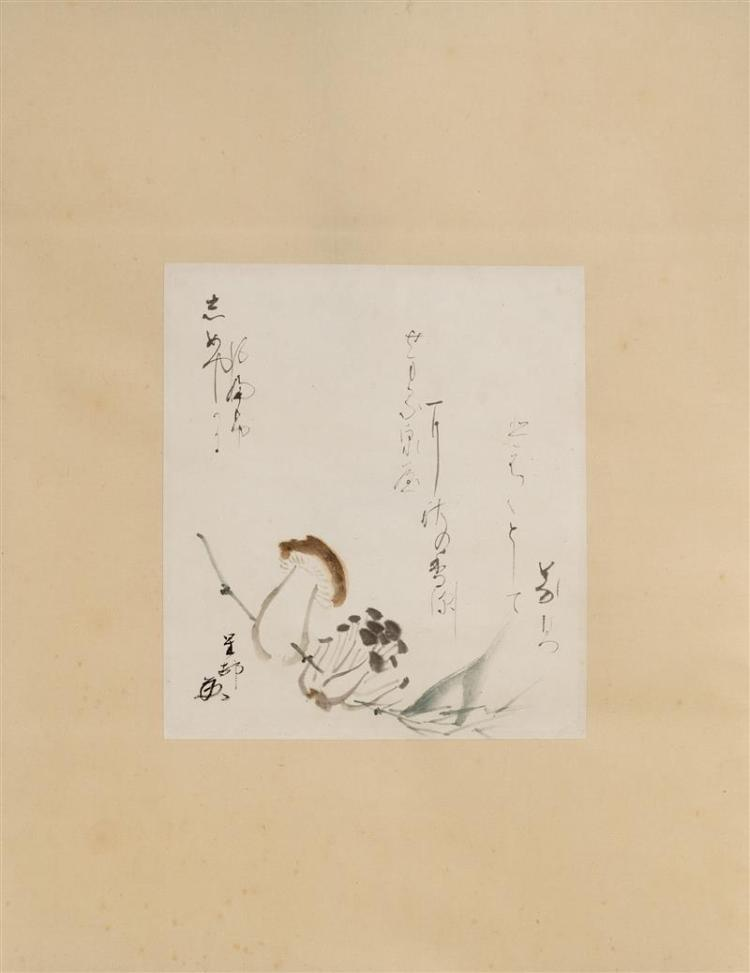 SCROLL PAINTING ON PAPER Depicting mushrooms and calligraphy. 10.25