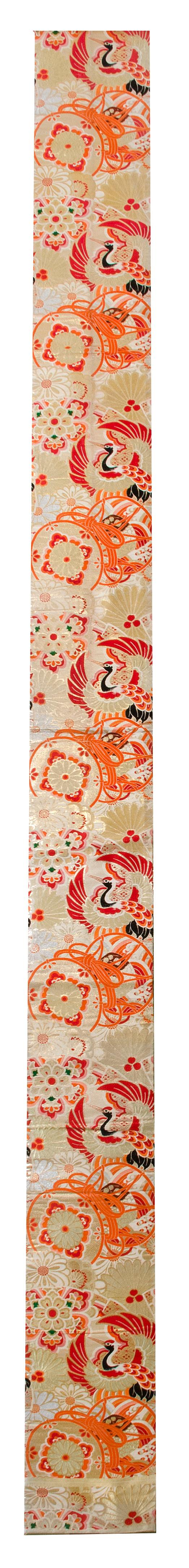 SILK BROCADE OBI With crane and chrysanthemum design.