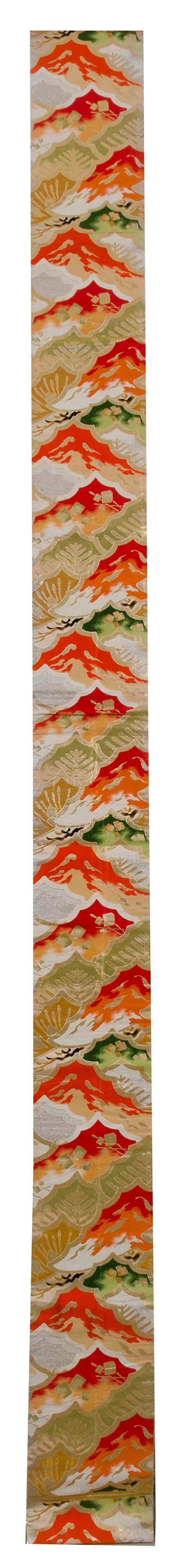 SILK BROCADE OBI In a silver, orange, and lime green paulownia design.