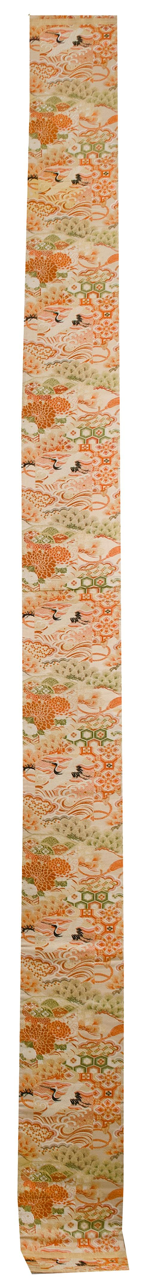 SILK BROCADE OBI With colorful crane, chrysanthemum, and pine tree design.