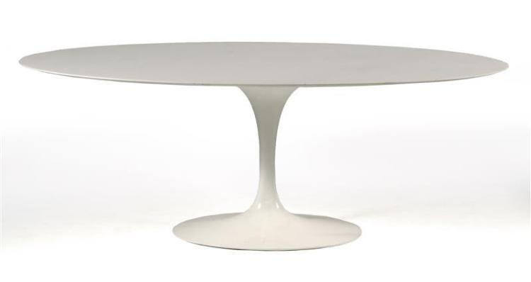 MARBLE-TOP TULIP TABLE With oval top. Length 77