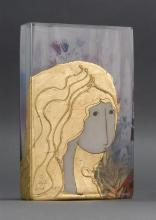 UNUSUAL PAINTED ART GLASS VASE By Steph White. In rectangular form. Depicting a golden-haired girl. With iris on reverse. Height 12