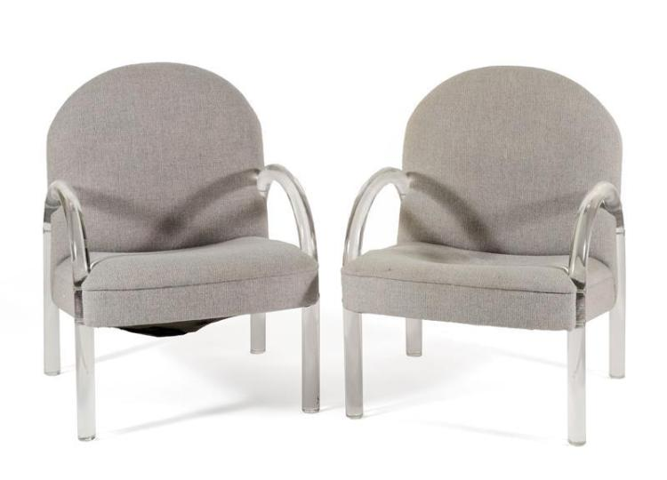 PAIR OF LUCITE AND UPHOLSTERED ARMCHAIRS Contemporary Made for the Pace Furniture Company. Clear with gray upholstery.