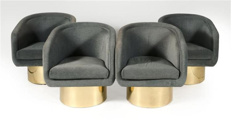 SET OF FOUR PEDESTAL SWIVEL ARMCHAIRS Contemporary Designed by Leon Rosen for the Pace Collection.