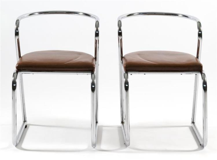 PAIR OF CHROME AND BROWN LEATHER ARMCHAIRS