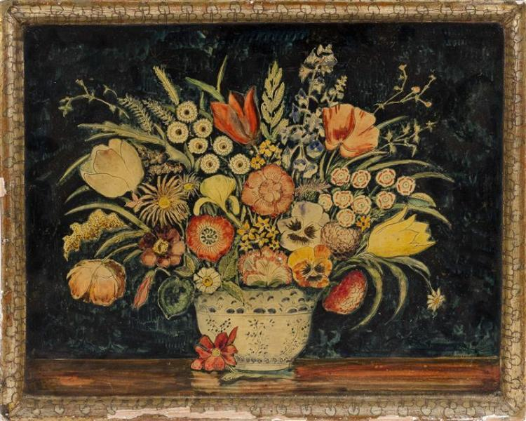 PAINTED LACQUER TRAY Attributed to Max Kehne. Depicting a floral still life. 16