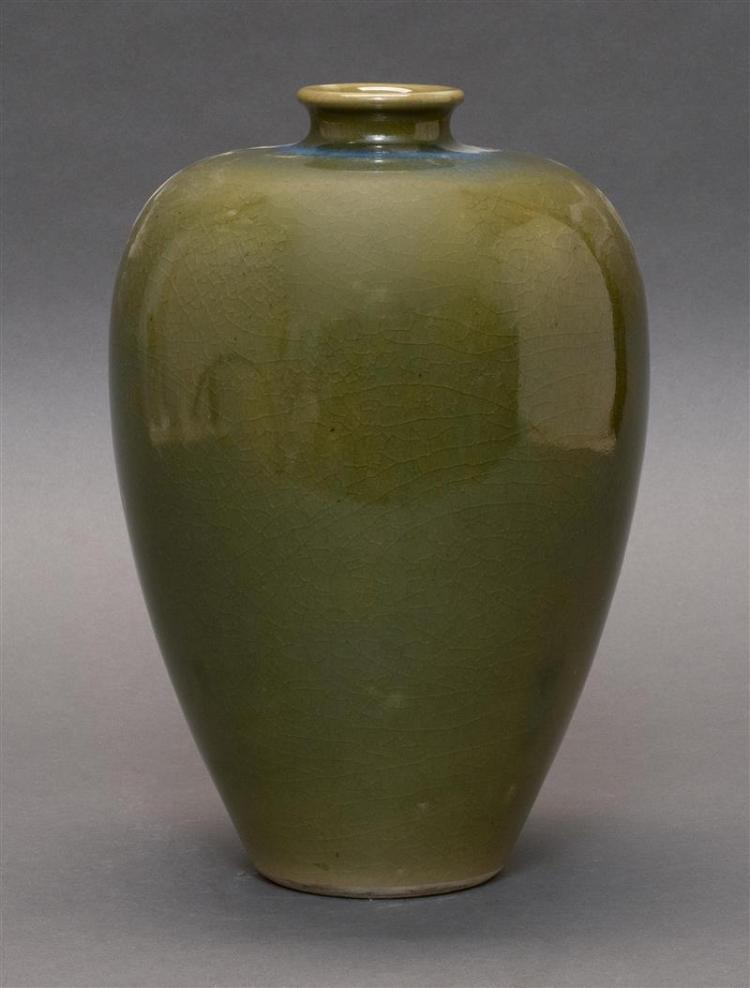 STUDIO PORCELAIN BOTTLE VASE In inverted pear shape with shaded green glaze. Height 11