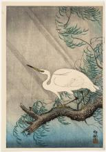 OHARA SHOSON Japanese, Early 20th Century. Depicting an egret on a willow branch.