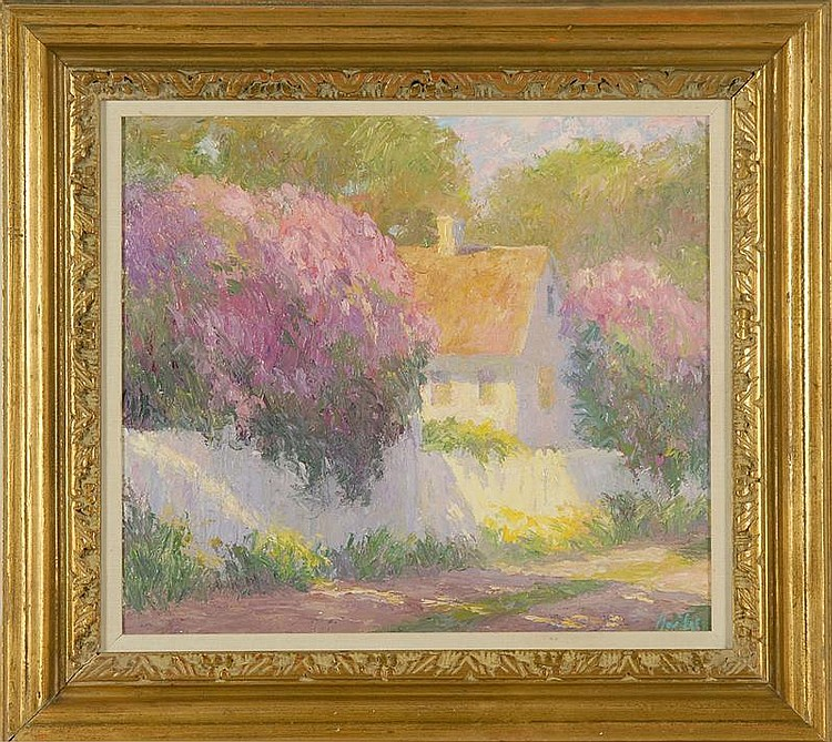 HILDA NEILY, American, Contemporary, Impressionist street scene., Oil on masonite, 16