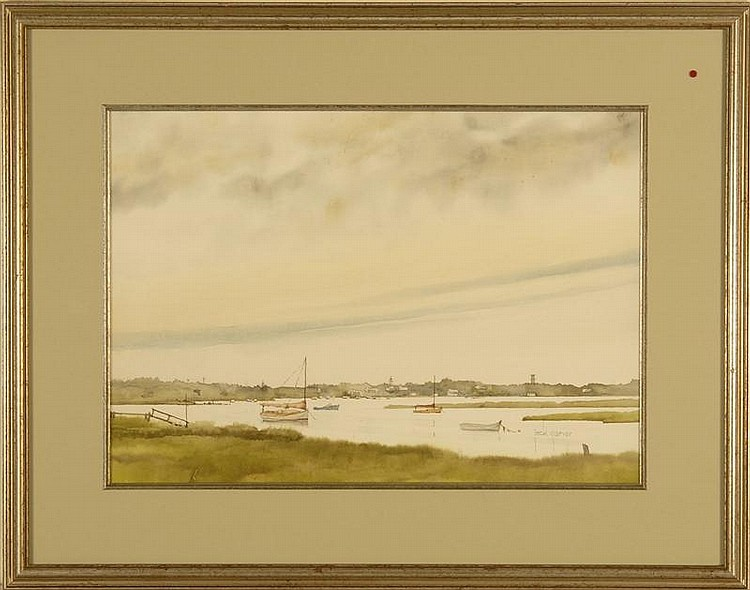 JACK GARVER, American, Contemporary, Oyster Pond, Chatham,, Watercolor on paper, 13