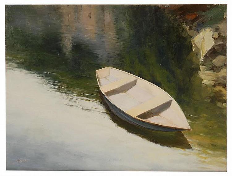 ARNOLD J. DESMARAIS, American, Contemporary, Moored rowboat., Oil on board, 9