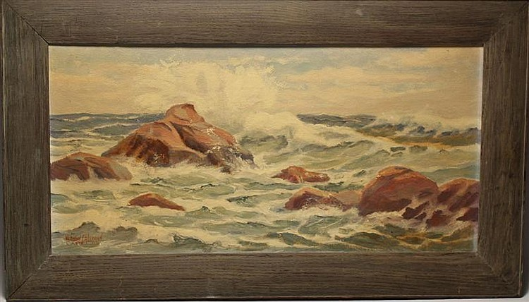 FRAMED PAINTING: VERNON COLEMAN (Cape Cod, 1898-1978). Rocky coastal scene. Signed lower left