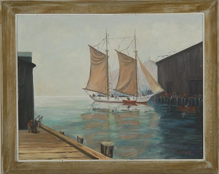 FRAMED PAINTING: FRED SARGENT (American, Early 20th Century). Dock scene with schooner and figures. Signed lower right