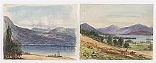BENJAMIN CHAMPNEY, American, 1817-1907, Two lake scenes., Watercolors on paper, 7