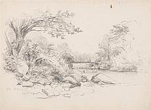 BENJAMIN CHAMPNEY, American, 1817-1907, Figures on a bridge, Conway, New Hampshire., Pencil on paper, 10.25