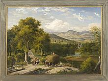 ATTRIBUTED TO WILLIAM H. TITCOMB, American, 1824-1888, Haying in the White Mountains of New Hampshire., Oil on canvas, 36