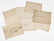 BENJAMIN CHAMPNEY, American, 1817-1907, Eight sketches., Pencils on paper, sizes vary. Unframed.